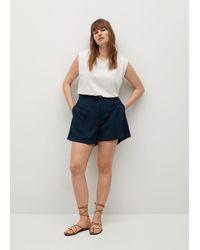 Violeta by Mango 100% Lyocell Shorts - Blue
