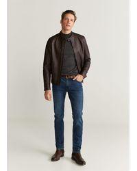 Mango Faux-leather Biker Jacket - Brown