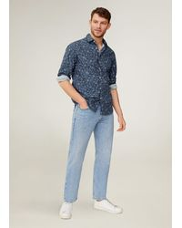 Mango Slim Fit Floral Print Shirt - Blue