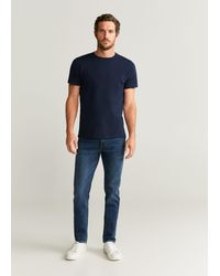 Mango Essential Cotton-blend T-shirt Navy - Blue