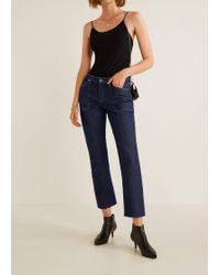 Mango - Cropped Frayed Jeans - Lyst