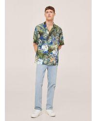 Mango Camicia fluida hawaiana - Blu