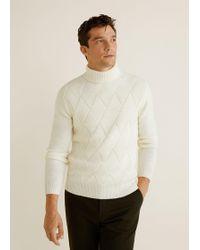 Mango - Rhombus Structure Wool Sweater - Lyst