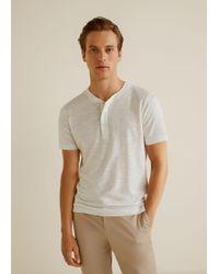 Mango - Flecked Henley T-shirt - Lyst