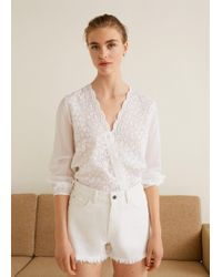 Mango - Embroidered Openwork Blouse - Lyst