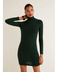 Mango - Knitted Perkins Neck Dress - Lyst