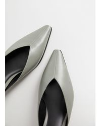 Mango - Heel Leather Mules Grey - Lyst