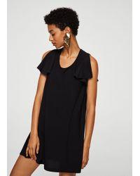 Mango - Ruffled Sleeve Dress - Lyst