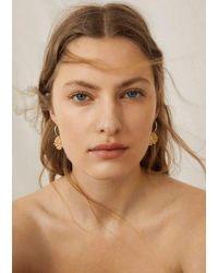 Mango Boucles d'oreilles pendantes fleurs - Métallisé