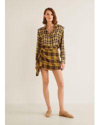 Mango - Check Skirt Trousers - Lyst