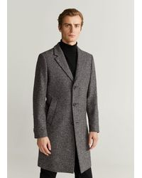 Mango - Textured Wool Tailored Coat Black - Lyst