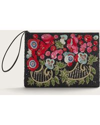 Violeta by Mango - Flowers Sequins Clutch - Lyst