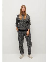 Mango Animal Print Sweatshirt Gray