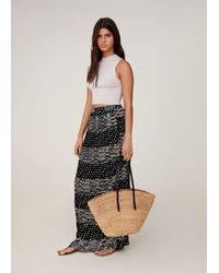 Mango Printed Long Skirt - Black