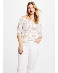 Violeta by Mango - Openwork Cotton-blend T-shirt - Lyst