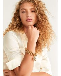 Mango Combined Pendants Bracelet Gold - Metallic