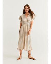 Mango Stripe Textured Dress Ecru - Multicolor