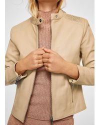 Mango | Quilted Panel Leather Jacket | Lyst