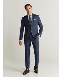 Mango Slim-fit Pantalon Van Scheerwol - Blauw