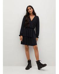 Mango Wrap Neckline Dress Black