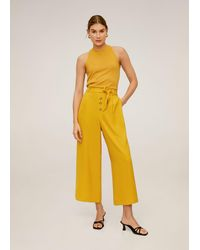 Mango Buttons Culottes Pants - Yellow