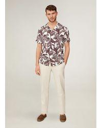 Mango Hawaiian Print Shirt - Brown