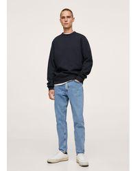 Mango Plush Cotton Sweatshirt - Blue