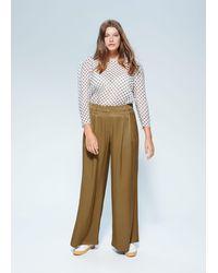 Violeta by Mango Pleat Detail Trousers - Green