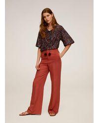 Mango - Floral Print Blouse Maroon - Lyst