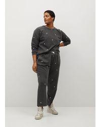 Violeta by Mango Embroidered Cotton Sweatshirt - Grey