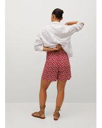 Violeta by Mango Printed Flowy Shorts - Red