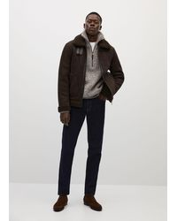 Mango Shearling-lined Aviator Jacket - Brown