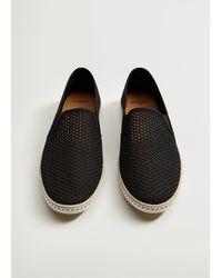 Mango Mesh Slip-on Shoes Black