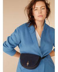 Mango Leather Flap Bag Dark Navy - Blue