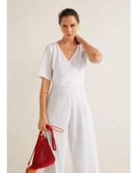 Mango Long Embroidered Jumpsuit - White