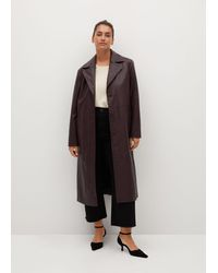 Violeta by Mango Leather-effect Trench Coat - Black