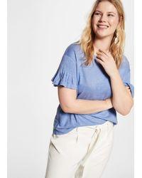 Violeta by Mango - Frills Linen T-shirt - Lyst