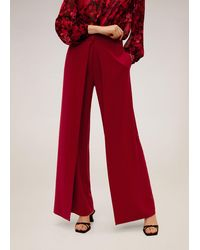 Mango Flowy Straight-fit Trousers - Red