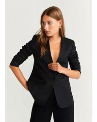 Mango Structured Textured Blazer - Black