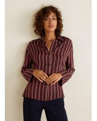 Mango - Striped Flowy Shirt - Lyst