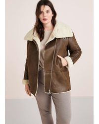 Violeta by Mango - Faux Shearling-lined Coat - Lyst