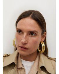 Mango Embossed Hoop Earrings Gold - Metallic