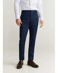 Mango Super Slim Fit Checked Tailored Pants Dark Navy - Blue