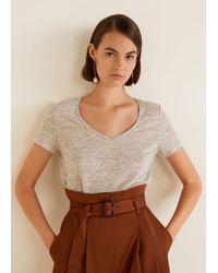 Mango - Linen T-shirt - Lyst