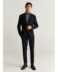 Mango Super Slim-fit Pantalon - Zwart