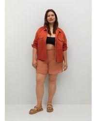 Mango Denim Cotton Jacket Orange