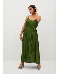 Violeta by Mango Belt Pleated Dress - Green