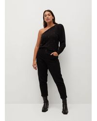 Mango Asymmetric Knit Jumper - Black