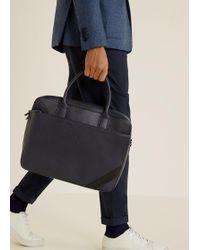 Mango Saffiano-effect Briefcase - Blue