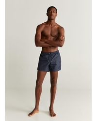 Mango Paisley Print Swimming Trunks - Blue